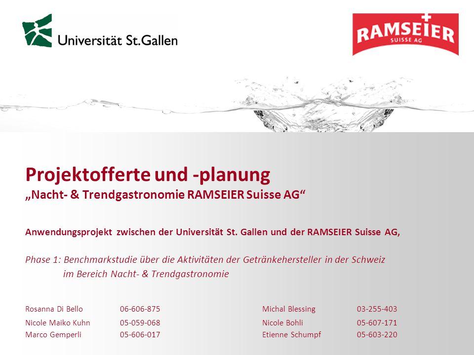 """Projektofferte und -planung """"Nacht- & Trendgastronomie RAMSEIER Suisse AG"""