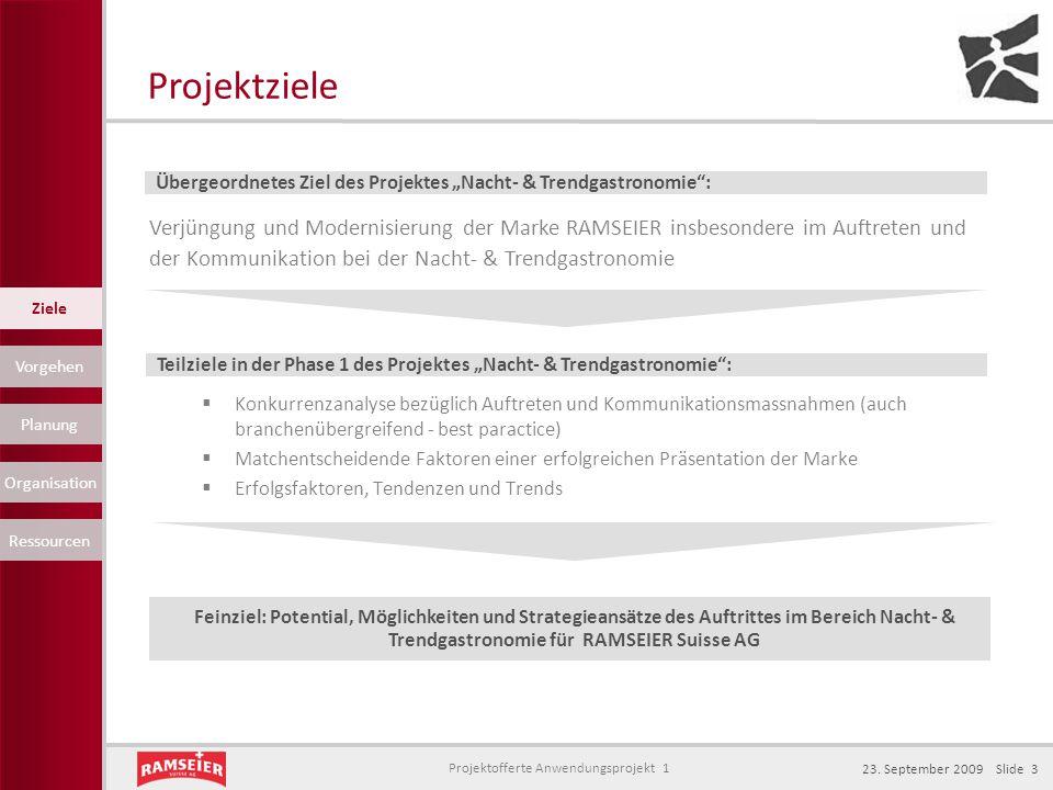 "Projektziele Übergeordnetes Ziel des Projektes ""Nacht- & Trendgastronomie :"