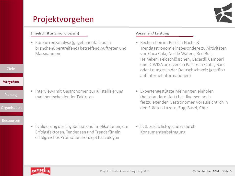 Projektvorgehen Einzelschritte (chronologisch) Vorgehen / Leistung.