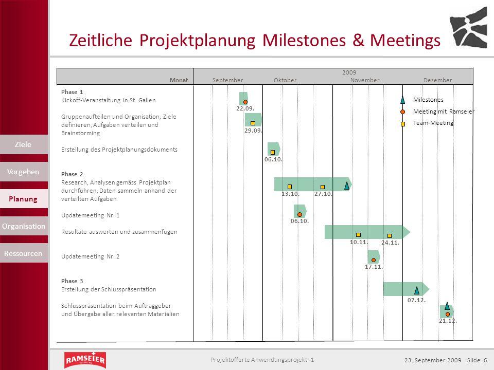 Zeitliche Projektplanung Milestones & Meetings