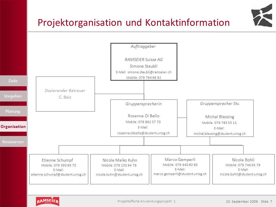 Projektorganisation und Kontaktinformation