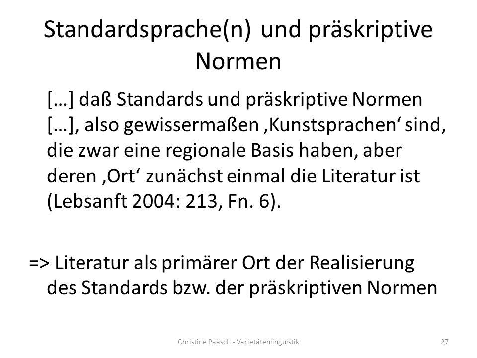 Standardsprache(n) und präskriptive Normen