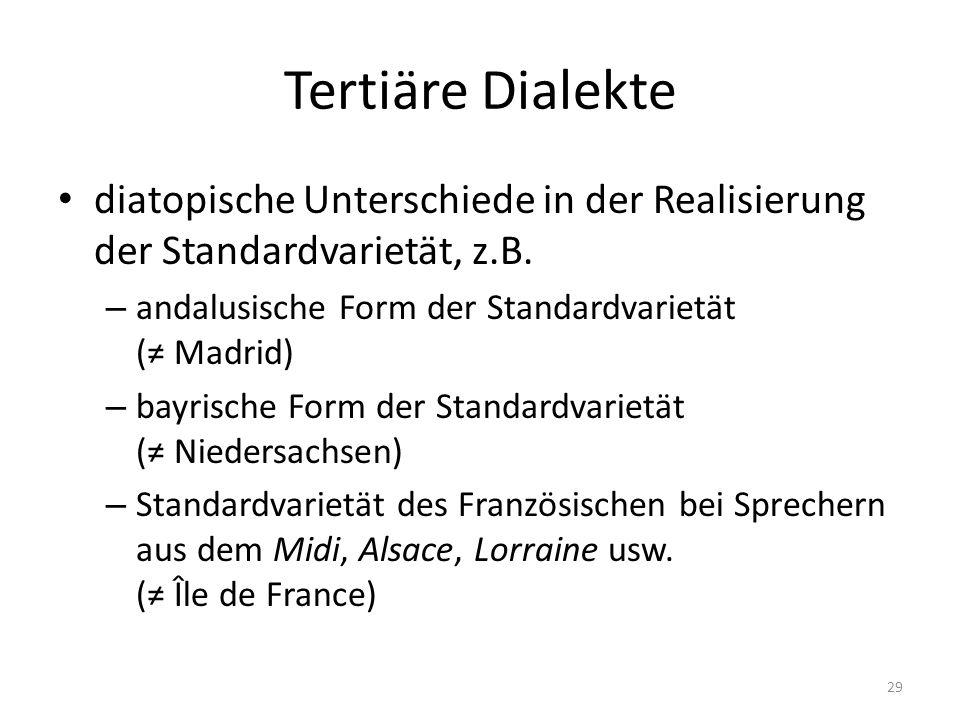 Tertiäre Dialekte diatopische Unterschiede in der Realisierung der Standardvarietät, z.B. andalusische Form der Standardvarietät (≠ Madrid)