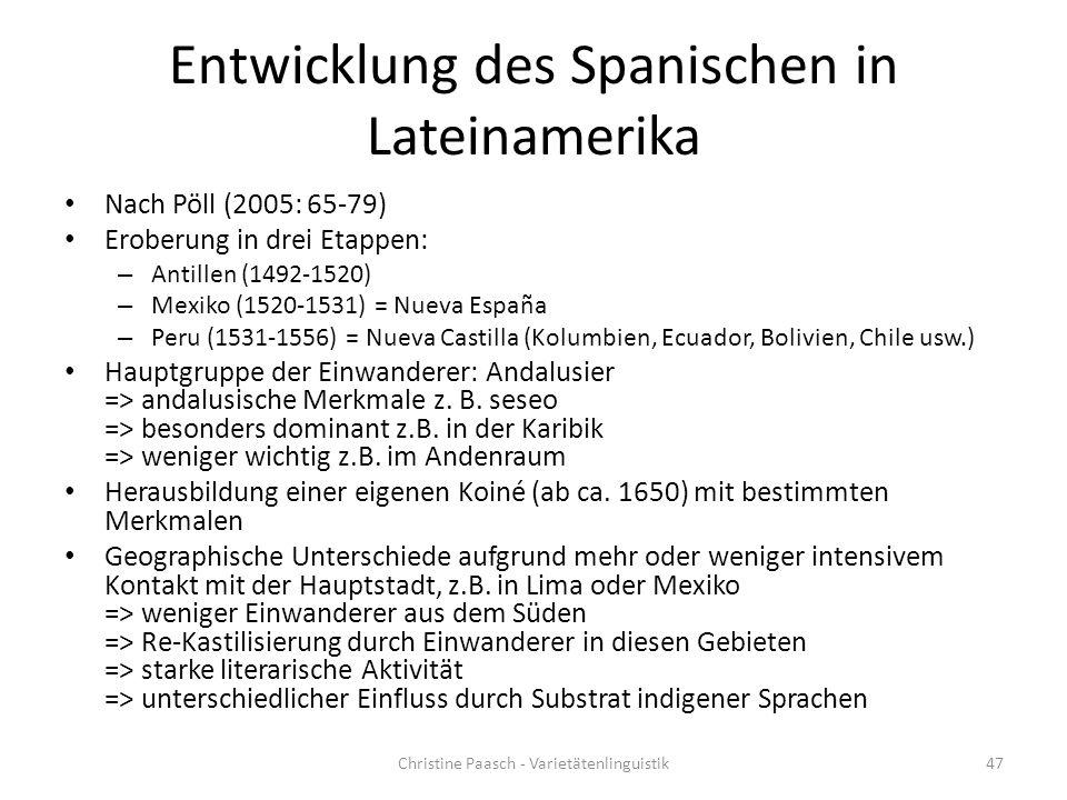 Entwicklung des Spanischen in Lateinamerika