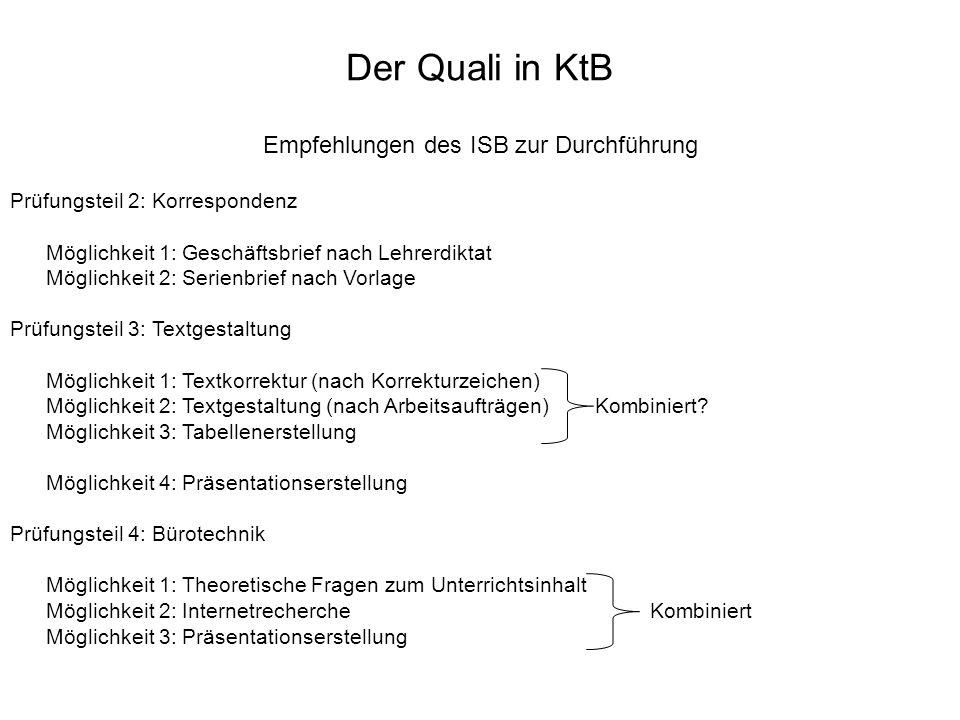 Empfehlungen des ISB zur Durchführung