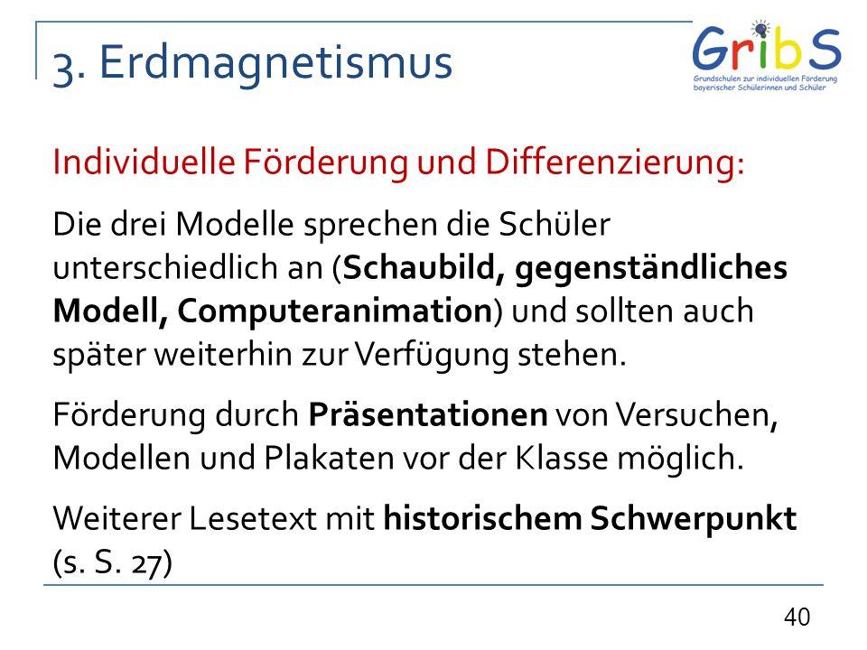 3. Erdmagnetismus Individuelle Förderung und Differenzierung: