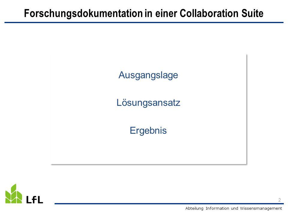 Forschungsdokumentation in einer Collaboration Suite