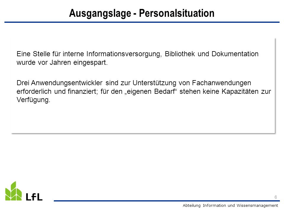 Ausgangslage - Personalsituation
