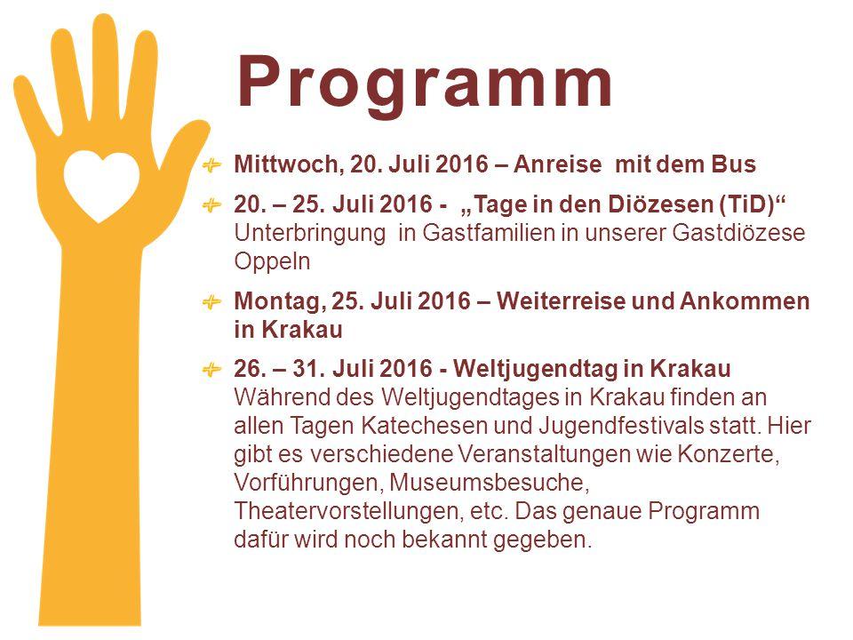 Programm Mittwoch, 20. Juli 2016 – Anreise mit dem Bus