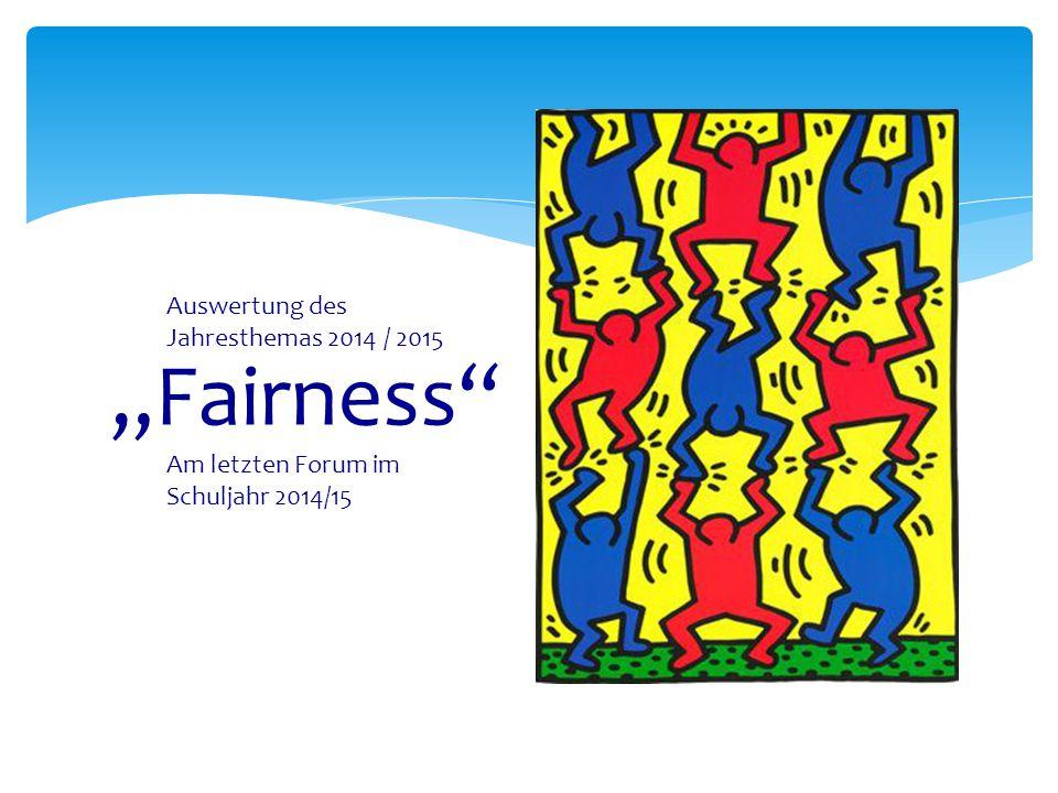 """""""Fairness Auswertung des Jahresthemas 2014 / 2015"""