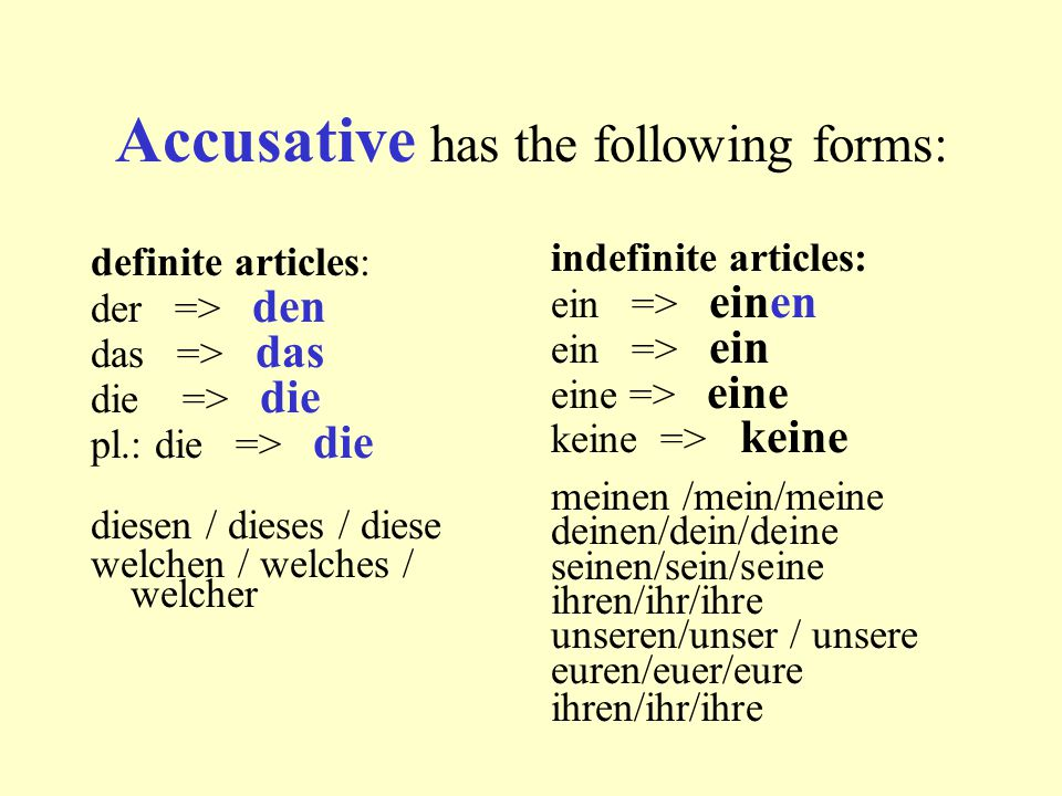 Accusative has the following forms: