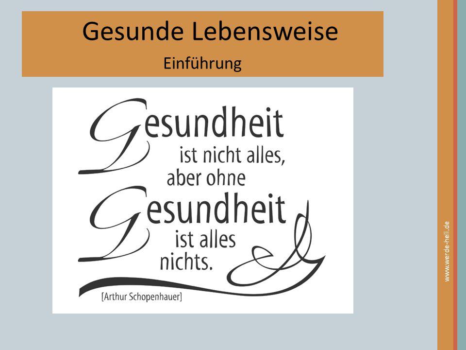 Gesunde Lebensweise Einführung www.werde-heil.de