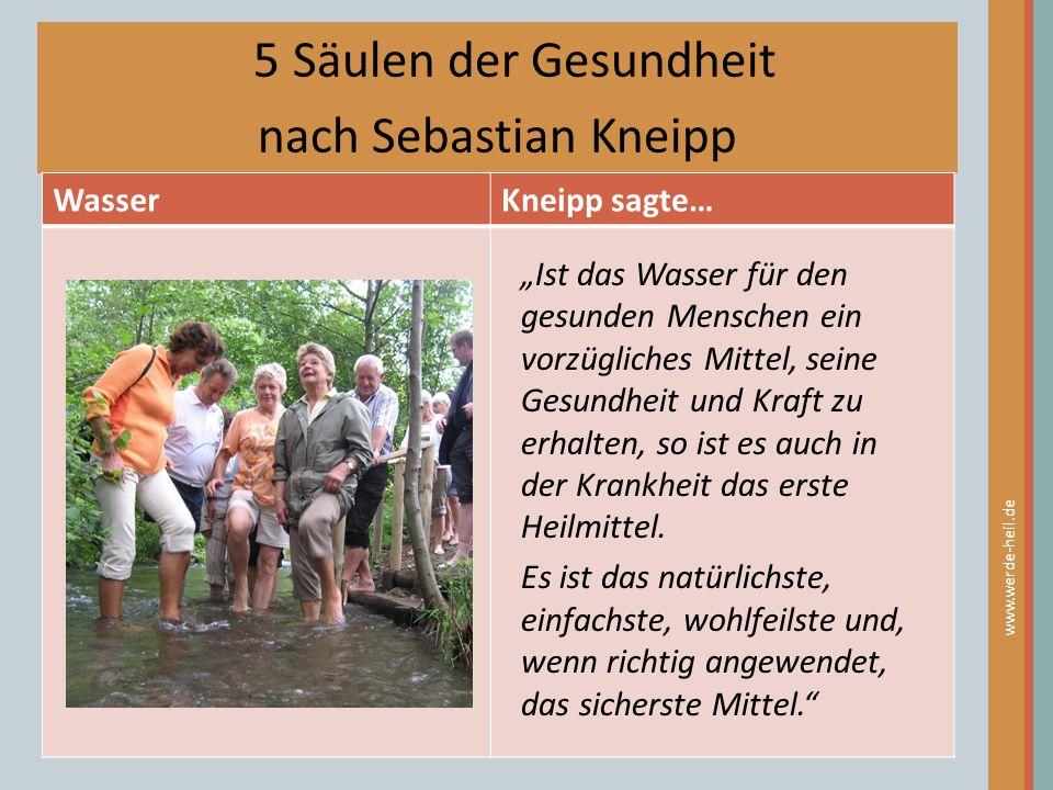 5 Säulen der Gesundheit nach Sebastian Kneipp Wasser Kneipp sagte…