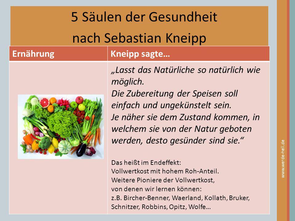 5 Säulen der Gesundheit nach Sebastian Kneipp Ernährung Kneipp sagte…