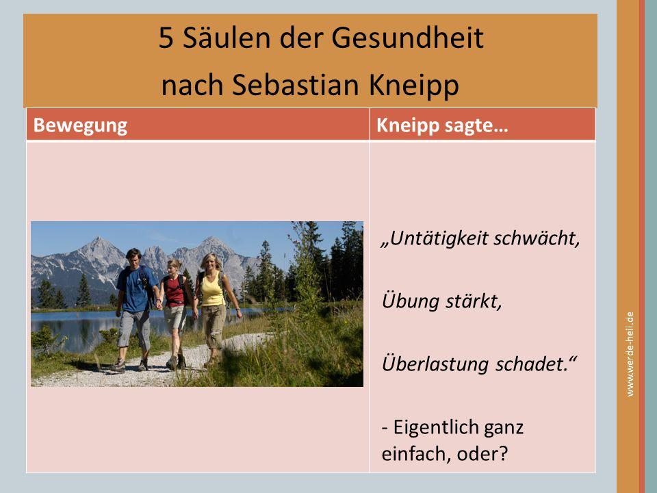 5 Säulen der Gesundheit nach Sebastian Kneipp Bewegung Kneipp sagte…