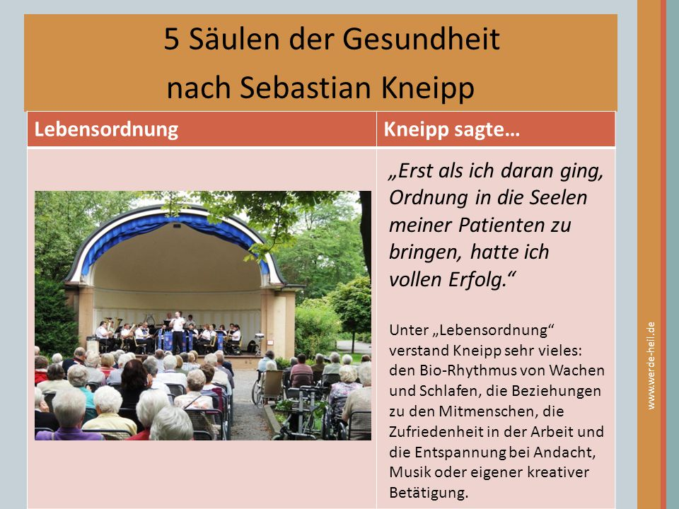5 Säulen der Gesundheit nach Sebastian Kneipp Lebensordnung