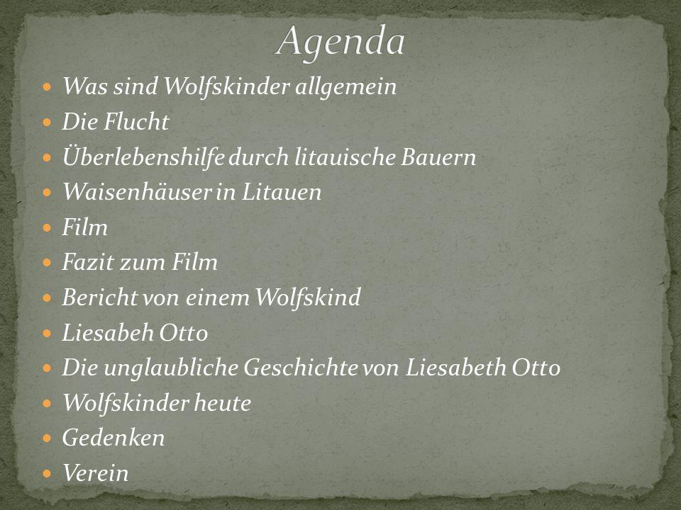 Agenda Was sind Wolfskinder allgemein Die Flucht