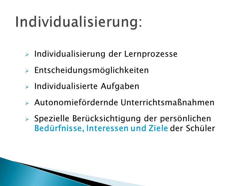 Individualisierung: Individualisierung der Lernprozesse