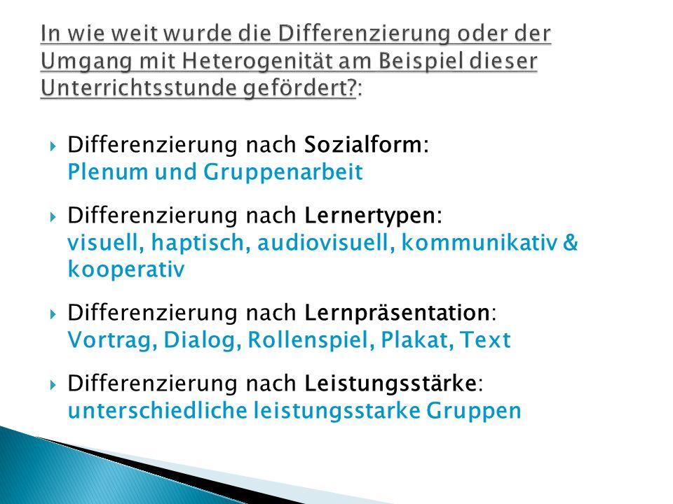 Differenzierung nach Sozialform: Plenum und Gruppenarbeit