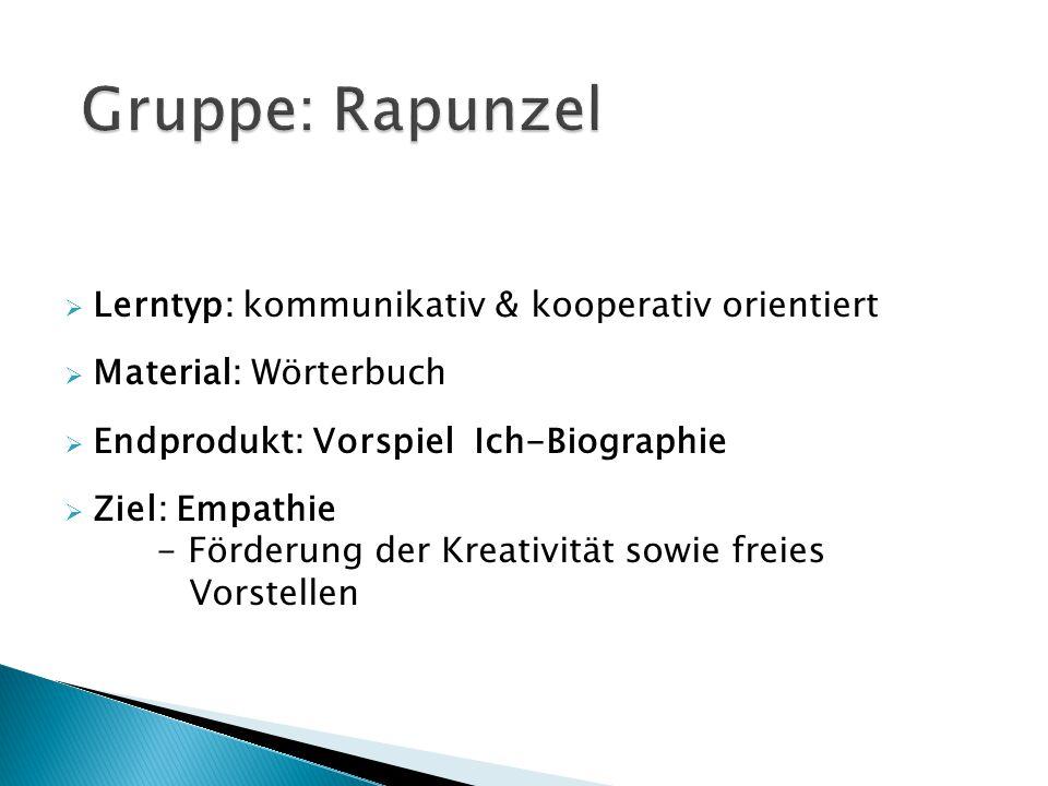 Gruppe: Rapunzel Lerntyp: kommunikativ & kooperativ orientiert