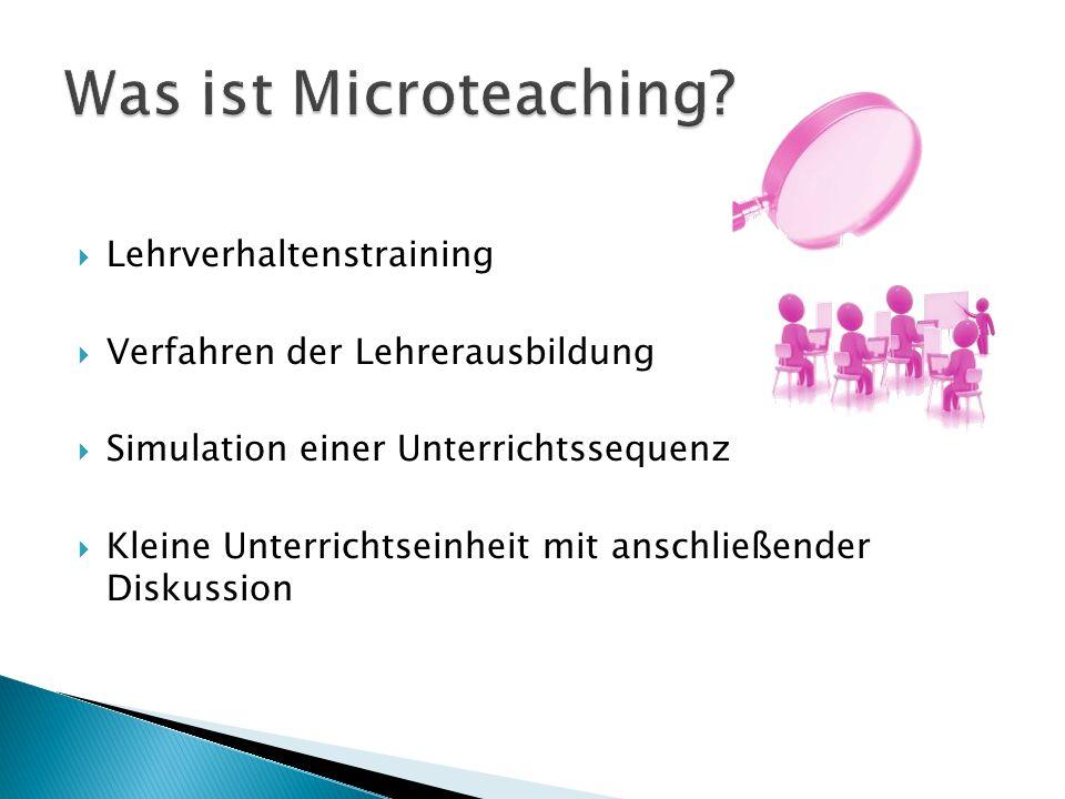 Was ist Microteaching Lehrverhaltenstraining