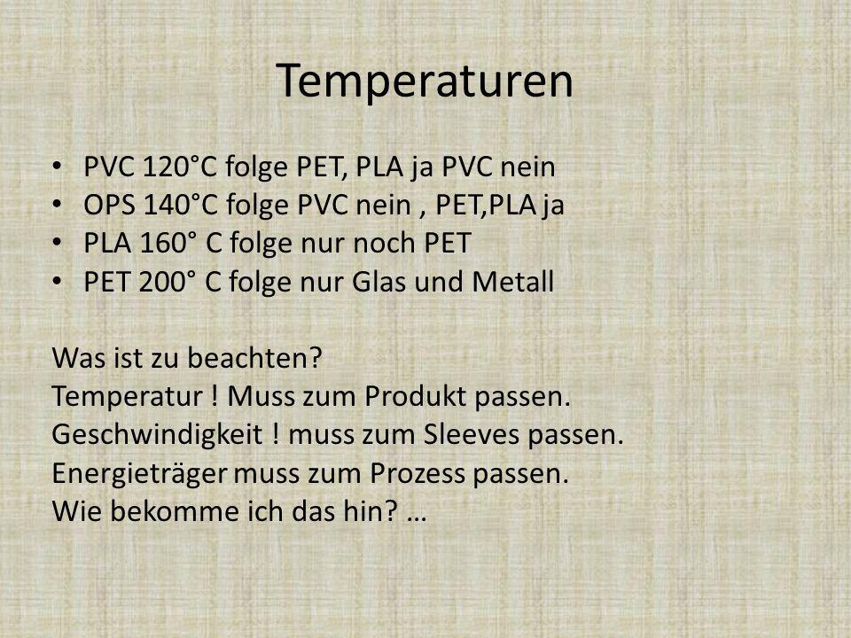 Temperaturen PVC 120°C folge PET, PLA ja PVC nein