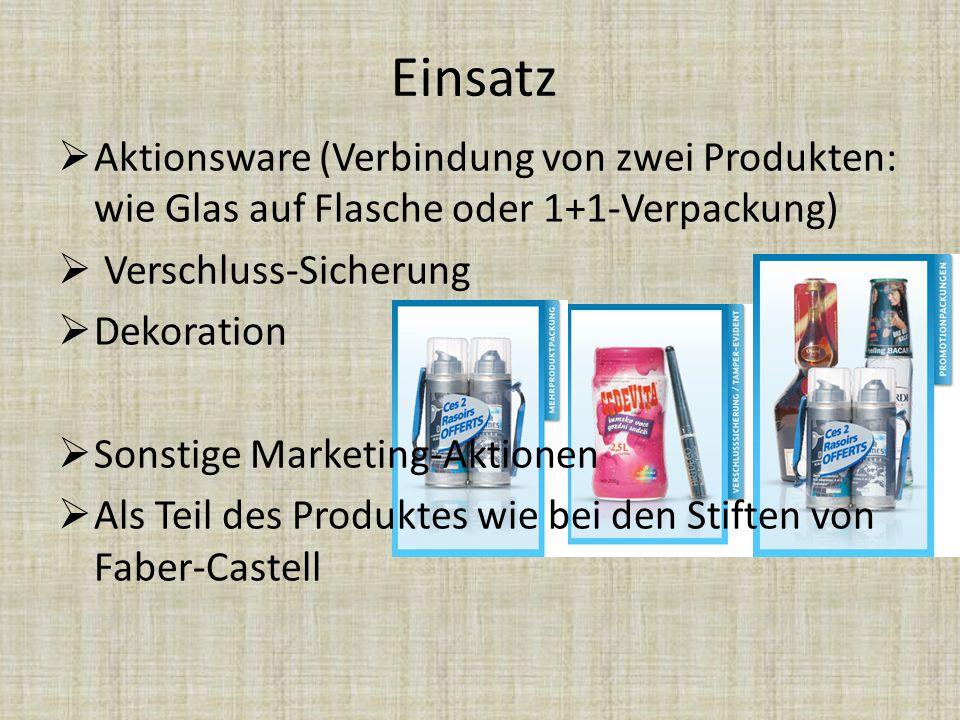 Einsatz Aktionsware (Verbindung von zwei Produkten: wie Glas auf Flasche oder 1+1-Verpackung) Verschluss-Sicherung.