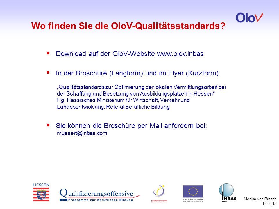 Wo finden Sie die OloV-Qualitätsstandards