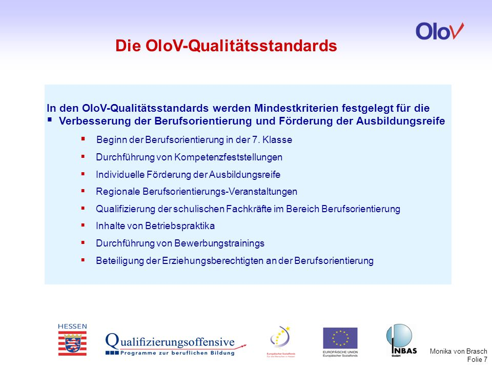 Die OloV-Qualitätsstandards
