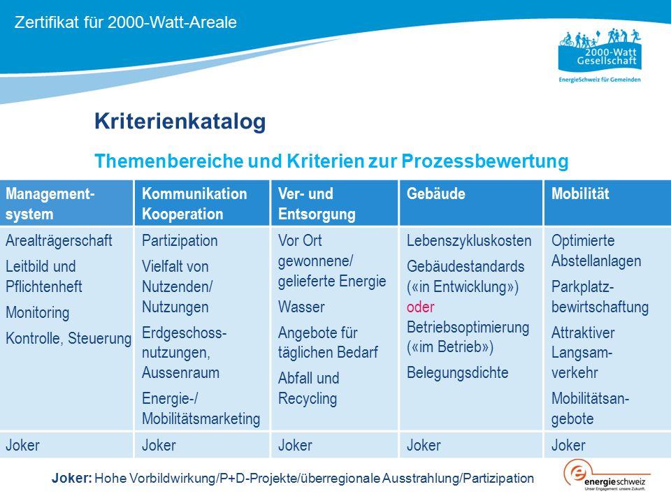 Kriterienkatalog Themenbereiche und Kriterien zur Prozessbewertung