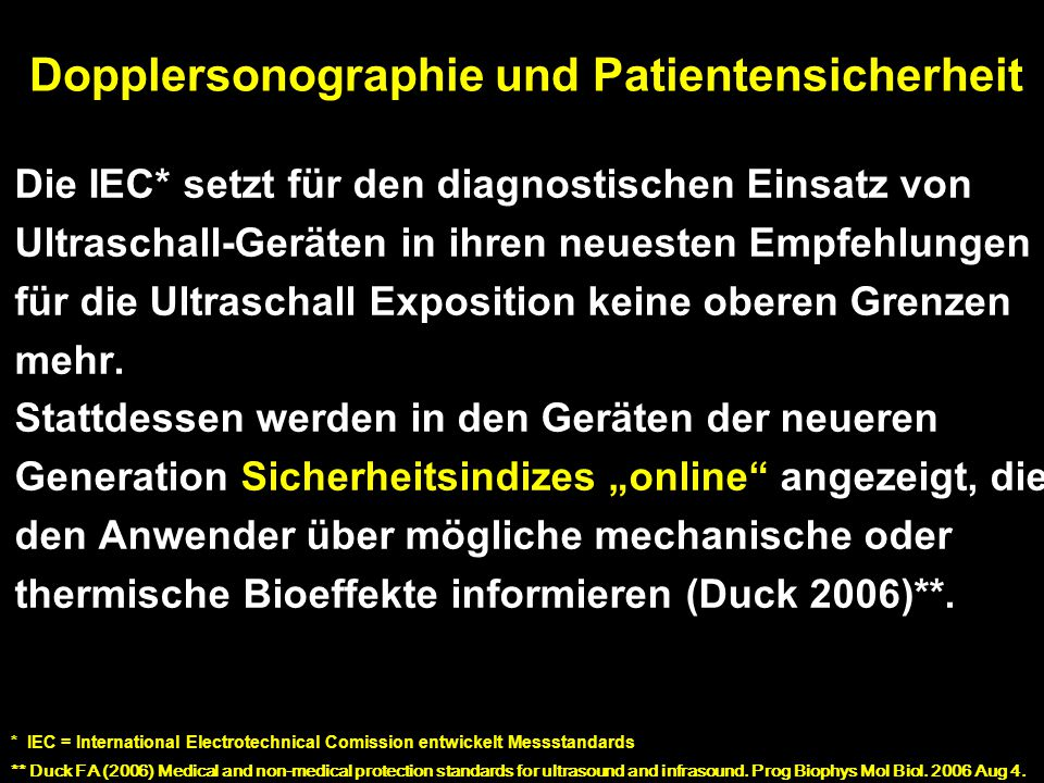 Dopplersonographie und Patientensicherheit