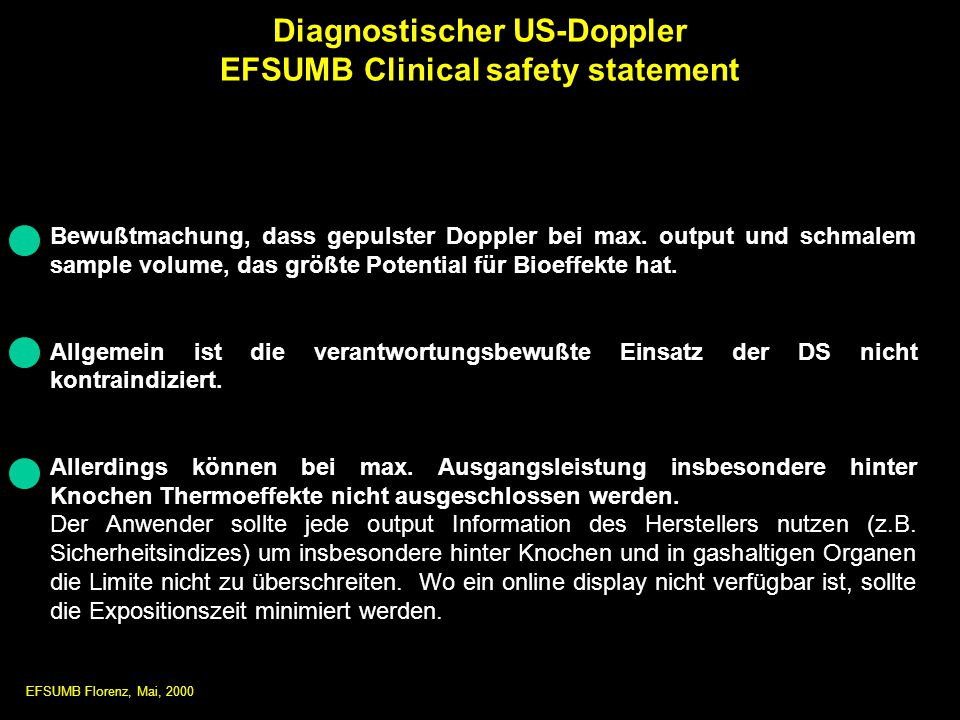 Diagnostischer US-Doppler EFSUMB Clinical safety statement