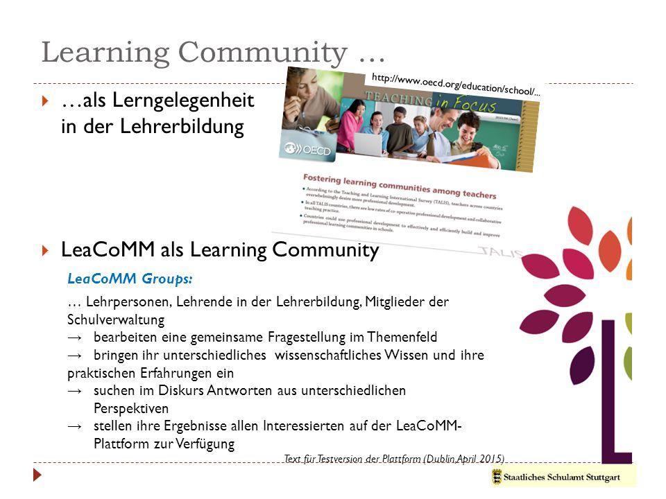 Learning Community … …als Lerngelegenheit in der Lehrerbildung