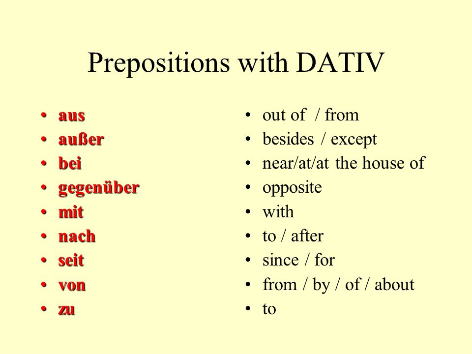 Prepositions with DATIV