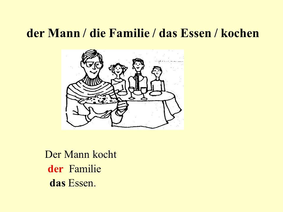 der Mann / die Familie / das Essen / kochen