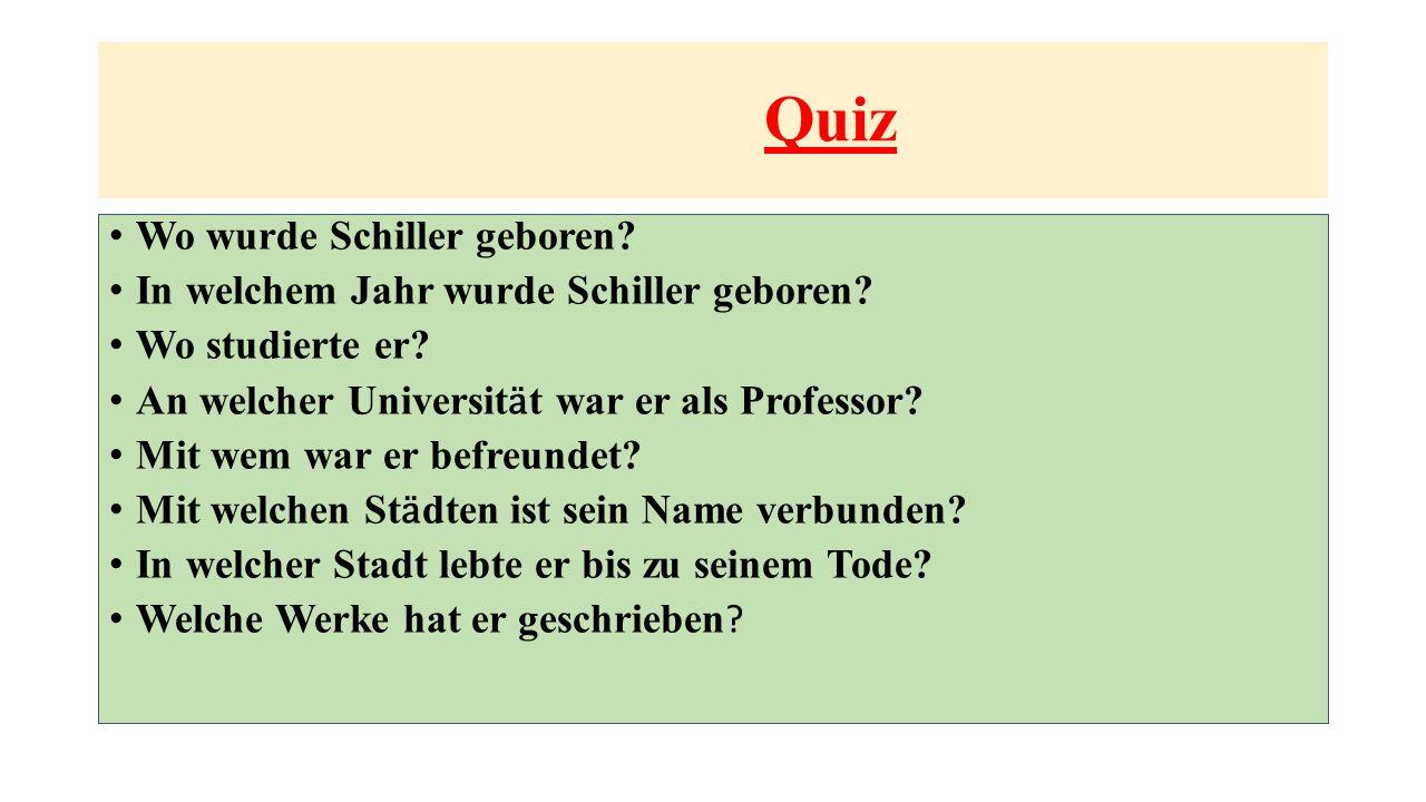 Quiz Wo wurde Schiller geboren