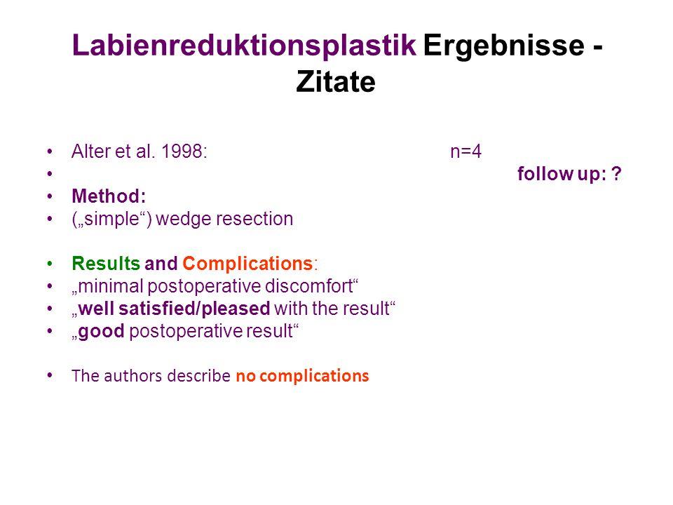 Labienreduktionsplastik Ergebnisse - Zitate
