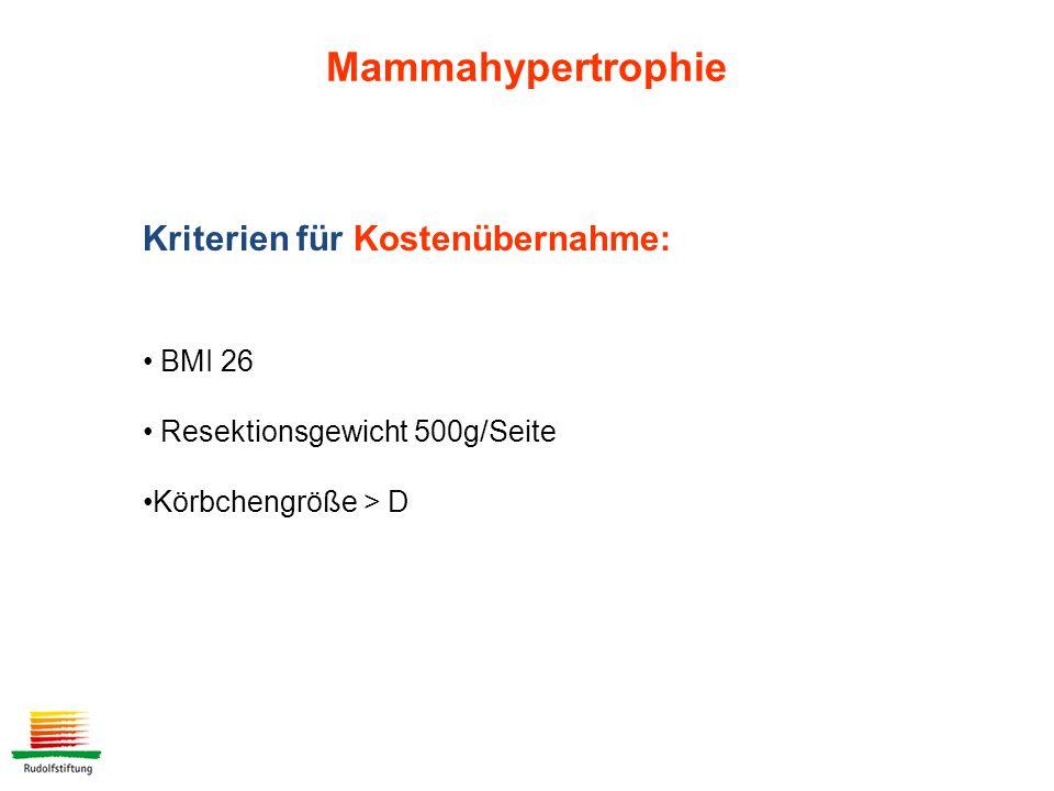 Mammahypertrophie Kriterien für Kostenübernahme: BMI 26