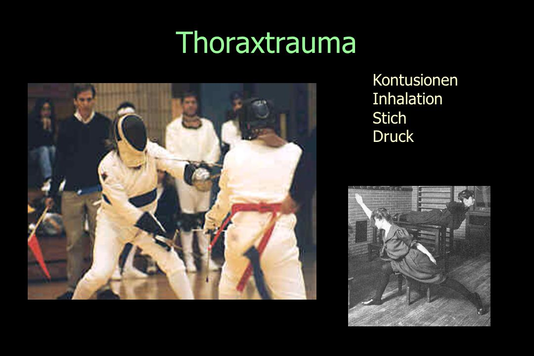 Thoraxtrauma Kontusionen Inhalation Stich Druck