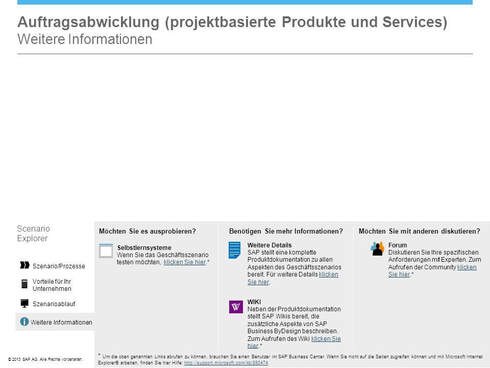 Auftragsabwicklung (projektbasierte Produkte und Services) Weitere Informationen
