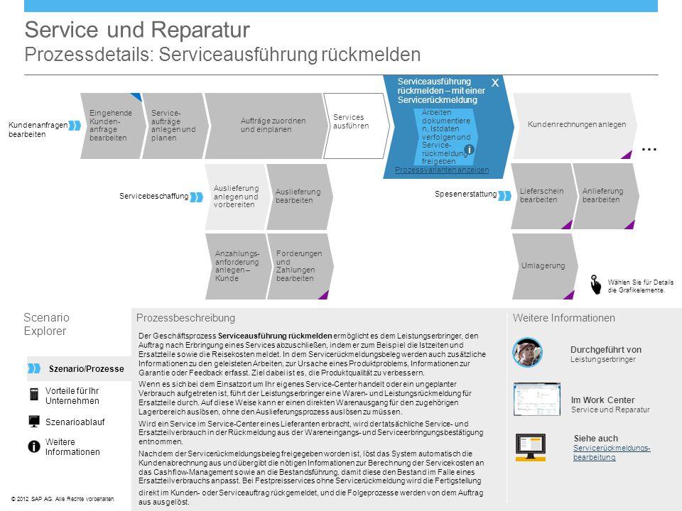 Service und Reparatur Prozessdetails: Serviceausführung rückmelden