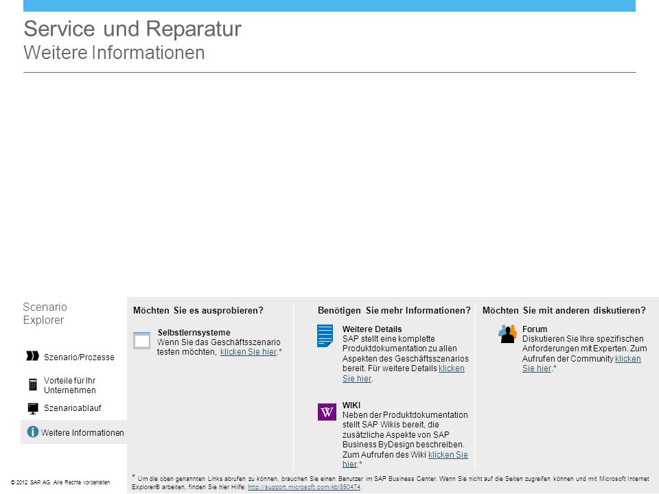Service und Reparatur Weitere Informationen