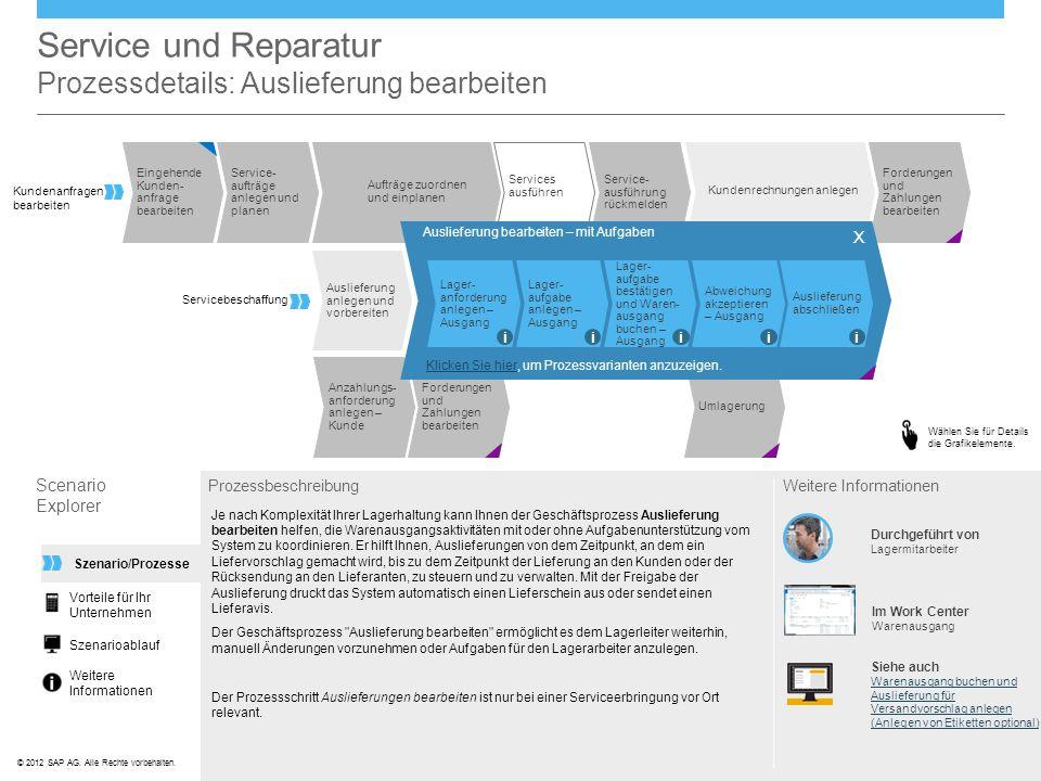 Service und Reparatur Prozessdetails: Auslieferung bearbeiten