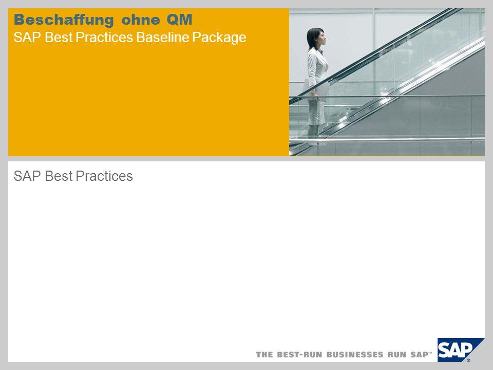 Beschaffung ohne QM SAP Best Practices Baseline Package