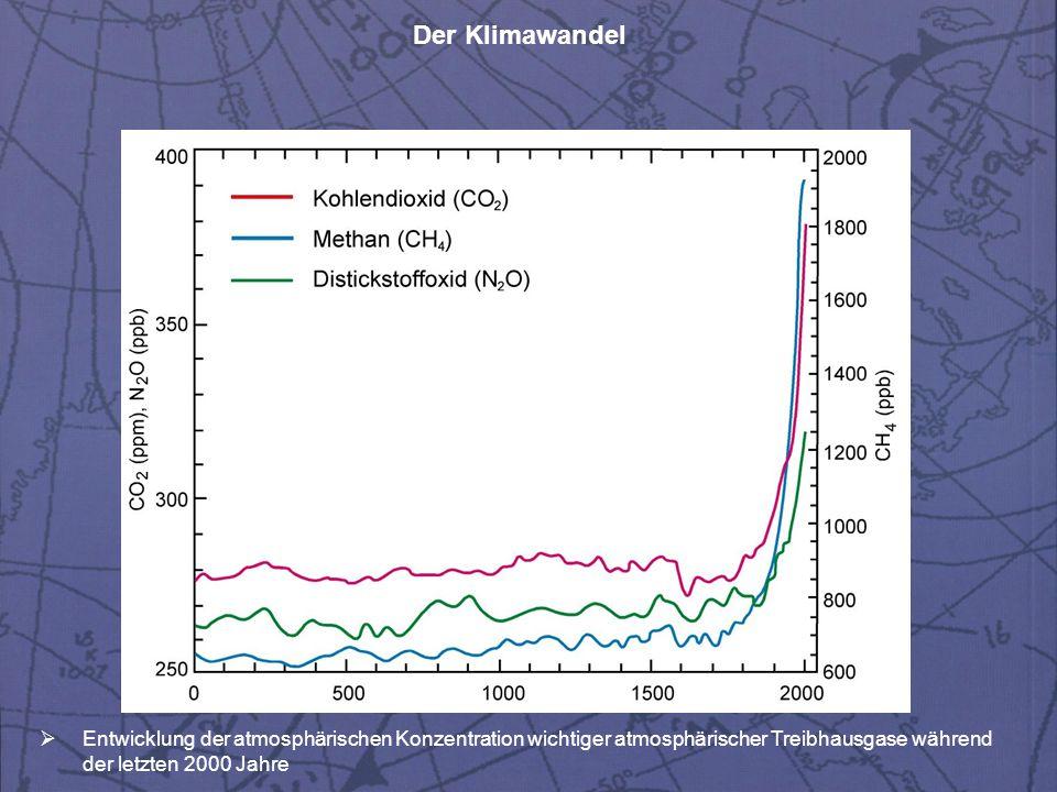 Entwicklung der atmosphärischen Konzentration wichtiger atmosphärischer Treibhausgase während der letzten 2000 Jahre