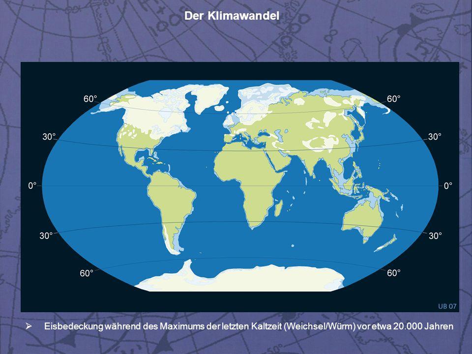 Eisbedeckung während des Maximums der letzten Kaltzeit (Weichsel/Würm) vor etwa 20.000 Jahren