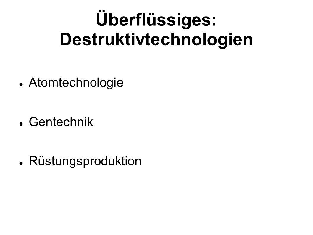 Überflüssiges: Destruktivtechnologien