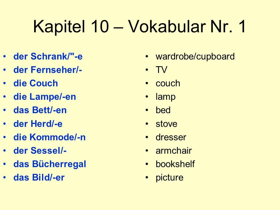 Kapitel 10 – Vokabular Nr. 1 der Schrank/ -e der Fernseher/- die Couch