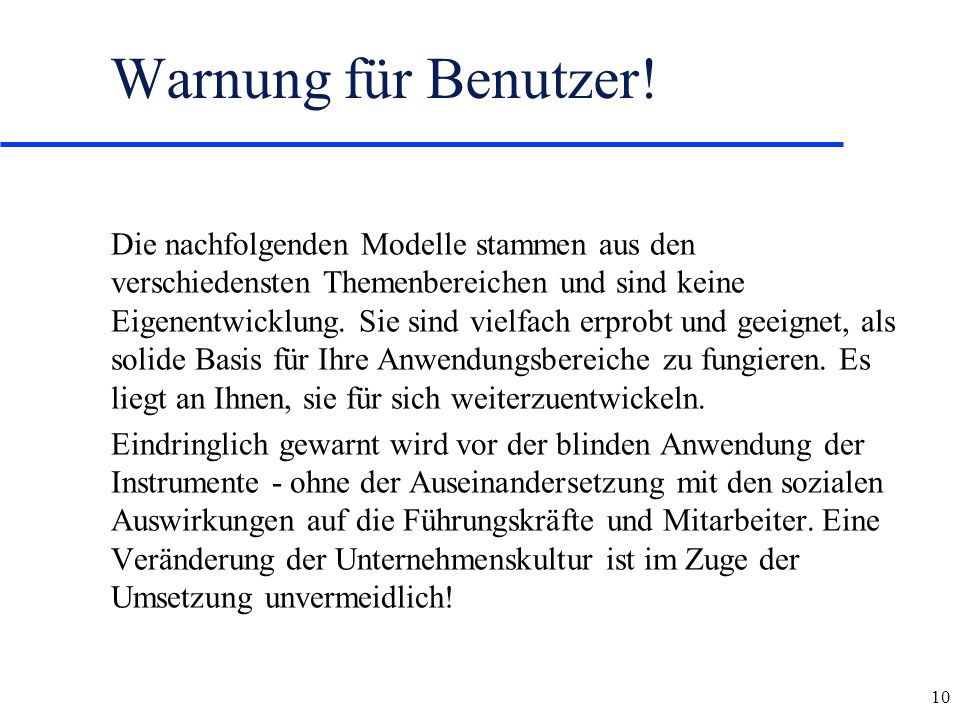 Warnung für Benutzer!