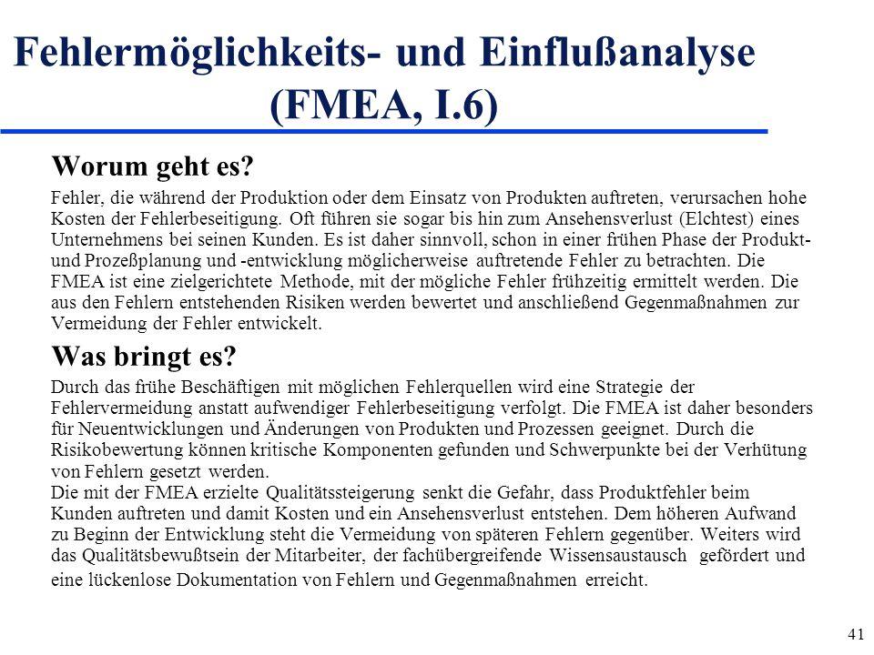 Fehlermöglichkeits- und Einflußanalyse (FMEA, I.6)